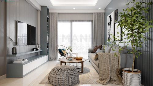 Tổng quan không gian phòng khách được thiết kế từ chất liệu gỗ công nghiệp